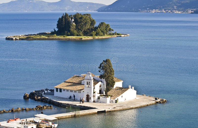 Het gebied van Pontikonisi in Korfu royalty-vrije stock foto