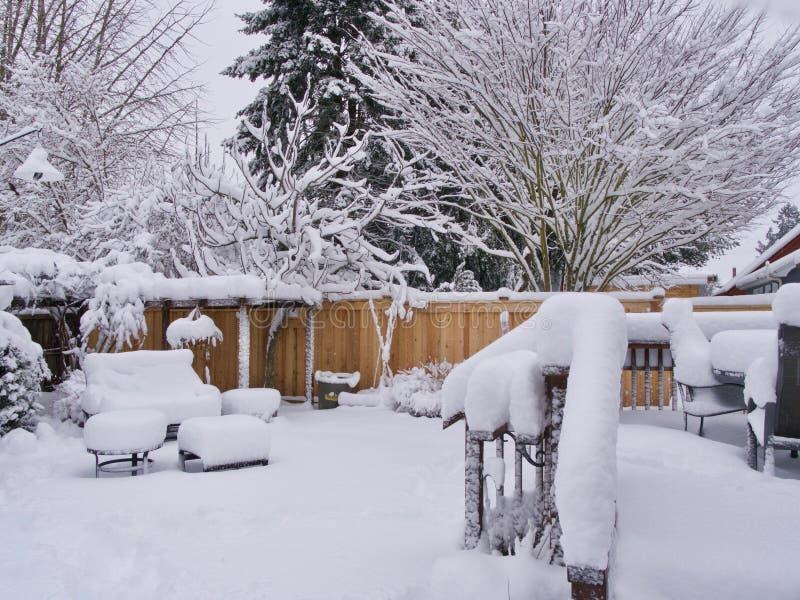 Het Gebied van SE Portland OF van USA_ Portland van de sneeuwdag met Historische Sneeuwval 1/11/2017 wordt geraakt die stock foto