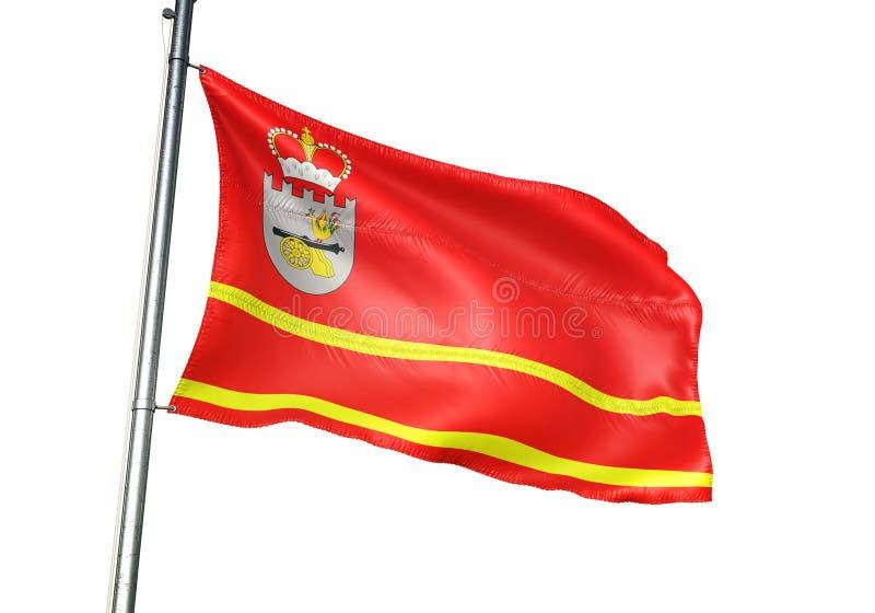 Het gebied van Smolensk oblast van de Vlag van Rusland golven geïsoleerd op witte realistische 3d illustratie als achtergrond vector illustratie