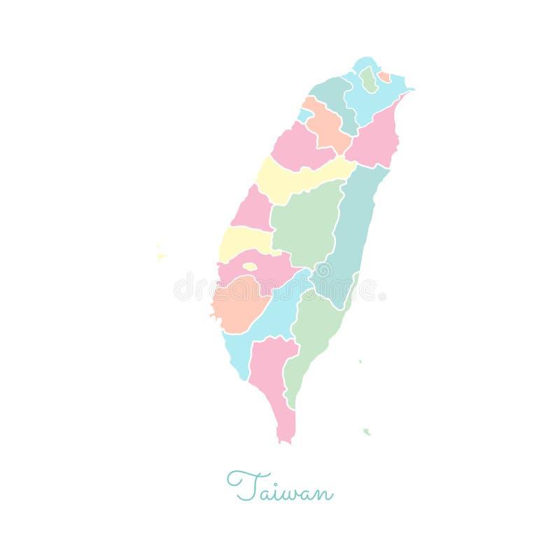 Het gebied van Taiwan kaart: kleurrijk met wit overzicht stock afbeeldingen