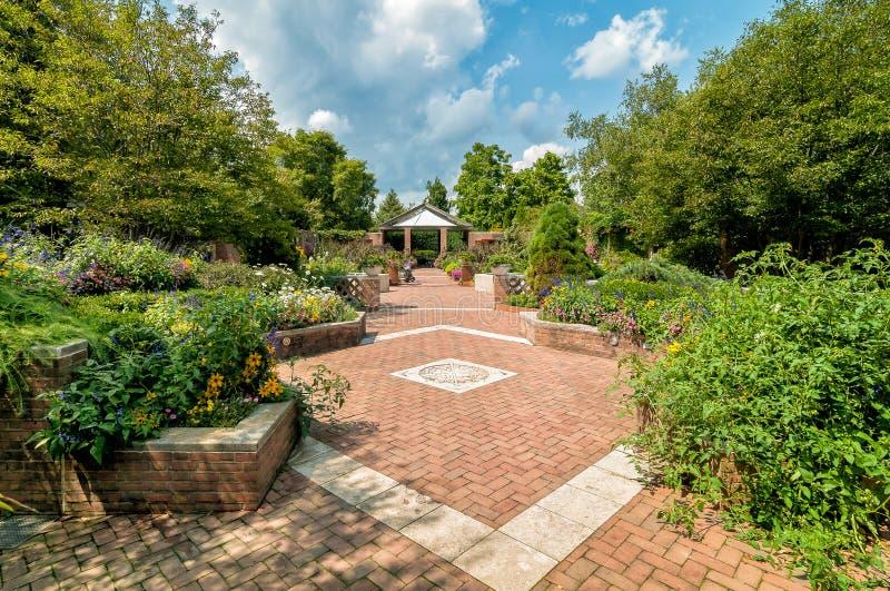 Het gebied van terrastuinen bij de Botanische Tuin van Chicago, Glencoe, de V.S. royalty-vrije stock fotografie