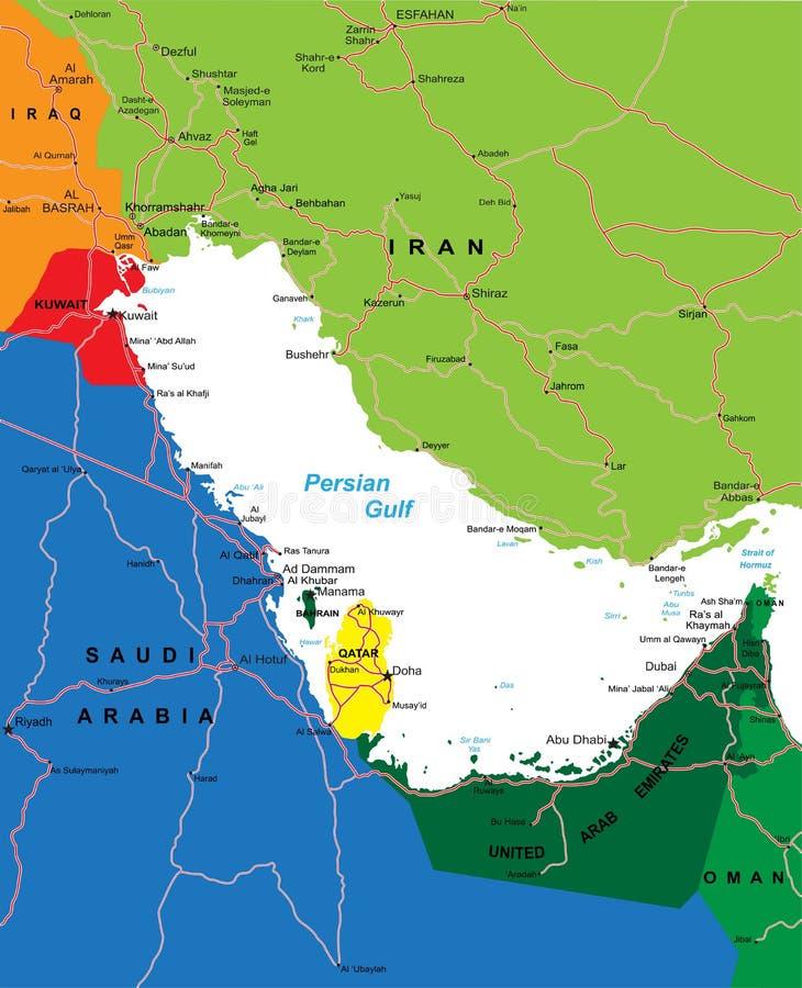 Het gebiedkaart van het Perzische Golf royalty-vrije illustratie