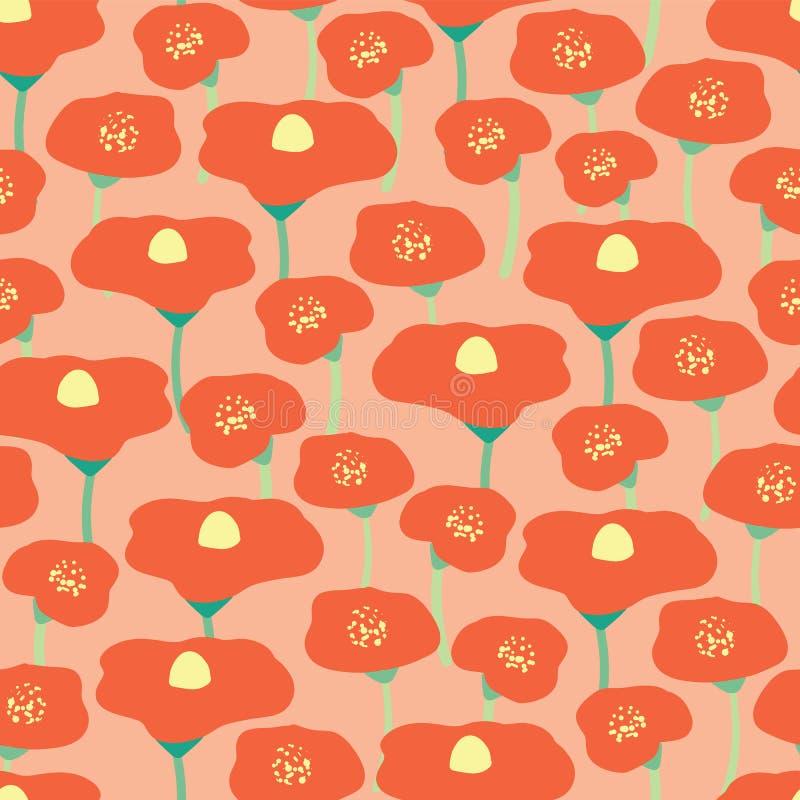 Het gebieds naadloze vectorachtergrond van de papaverbloem Rode papaversweide op roze koraal peachy achtergrond Retro bloemenhand stock illustratie