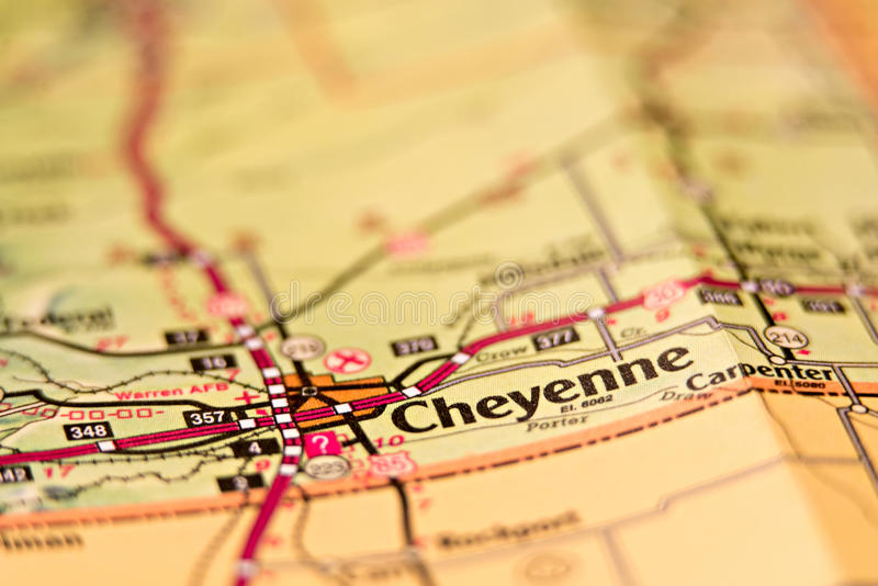 Het gebiedskaart van Cheyenne Wyoming royalty-vrije stock afbeelding