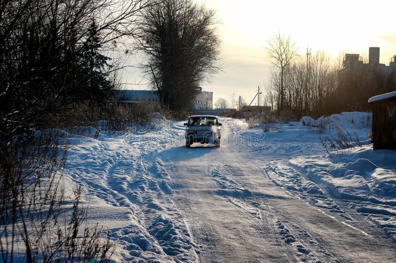 Het gebiedssteeg van de de winterweg royalty-vrije stock afbeelding