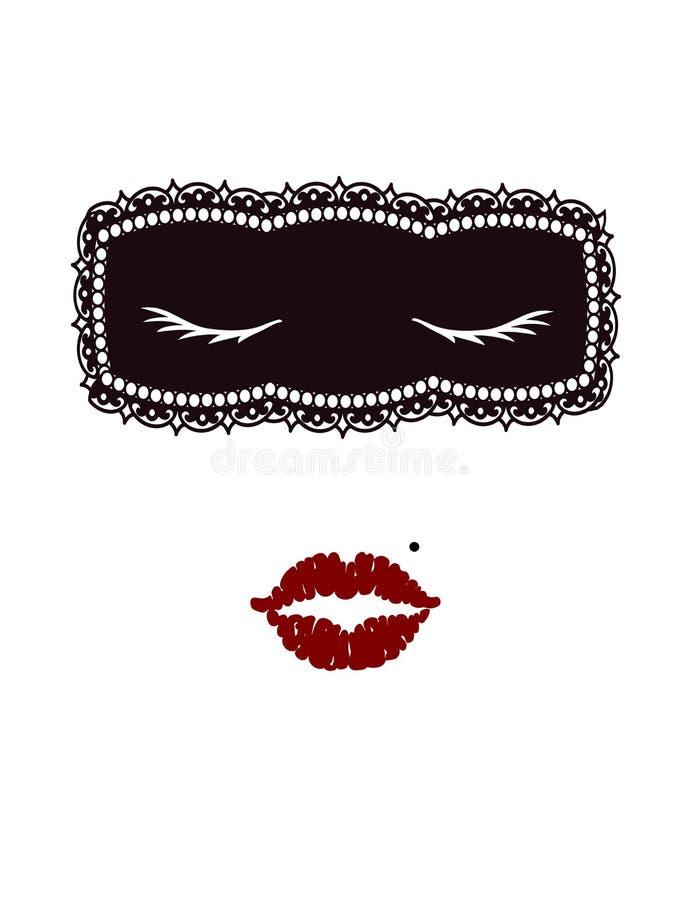 Het geblinddochte gezicht van het mooie meisje in Minimalism-techniek stock illustratie
