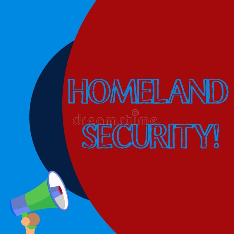 Het Geboortelandveiligheid van de handschrifttekst Concept die federaal agentschap betekenen dat wordt gebouwd om de V.S. tegen O stock illustratie