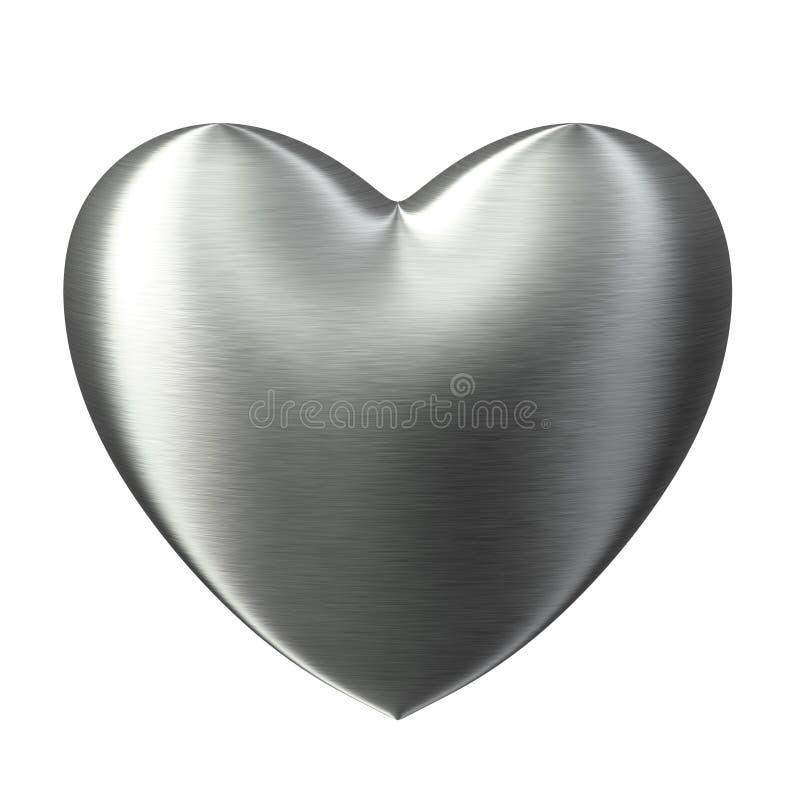 Het geborstelde hart van de staal sterke liefde stock illustratie