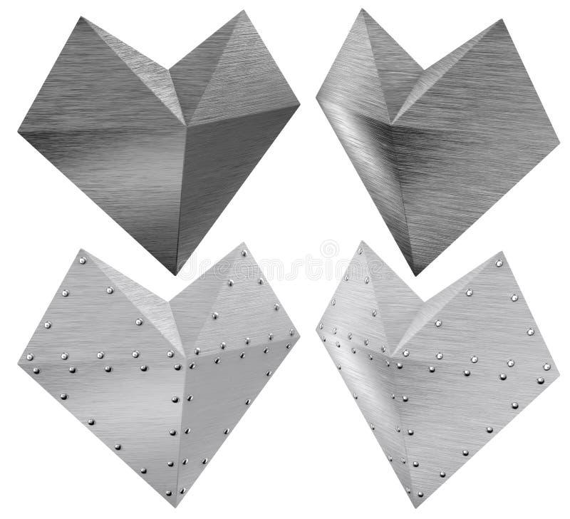 Het geborstelde symbolische hart van het staalijzer royalty-vrije illustratie