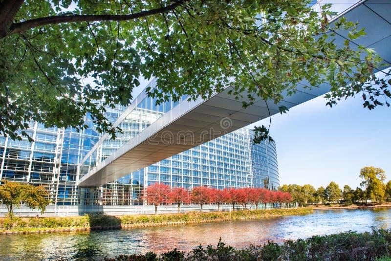 Het gebouw van het Europees Parlement in Straatsburg, Frankrijk Europa stock afbeeldingen