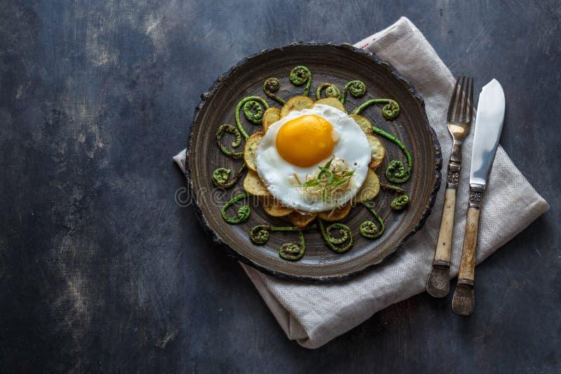 Het gebraden ei en beweegt gebraden varenspruiten, exemplaarruimte royalty-vrije stock afbeeldingen