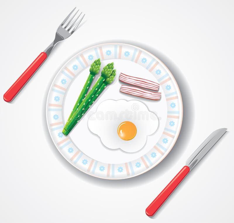 Het gebraden ei, het bacon en de groene asperge doorbladeren stock illustratie