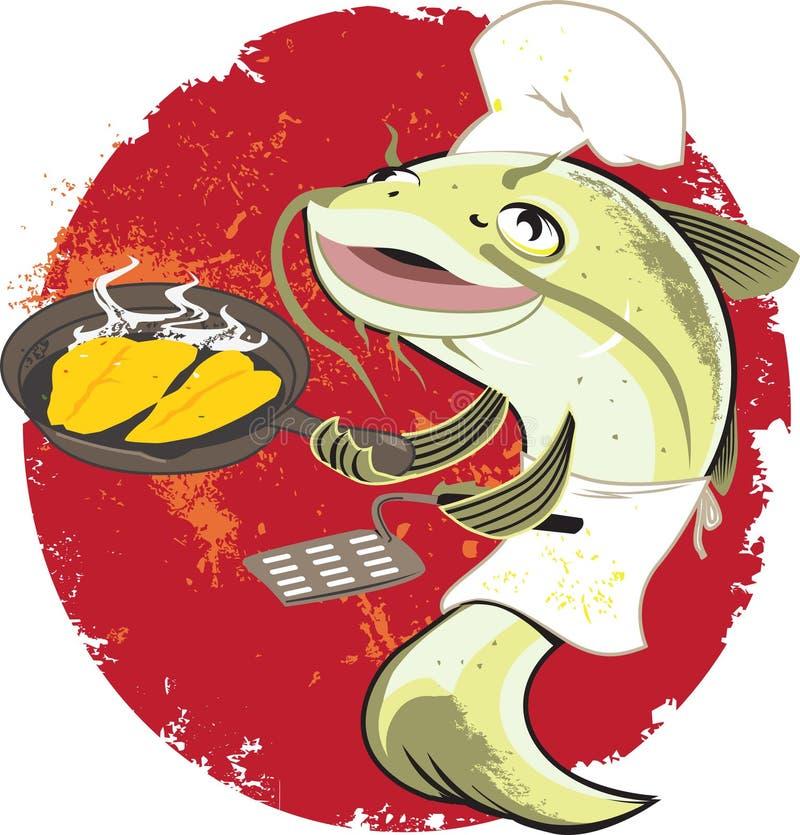 Het Gebraden gerecht Cook van de katvis vector illustratie