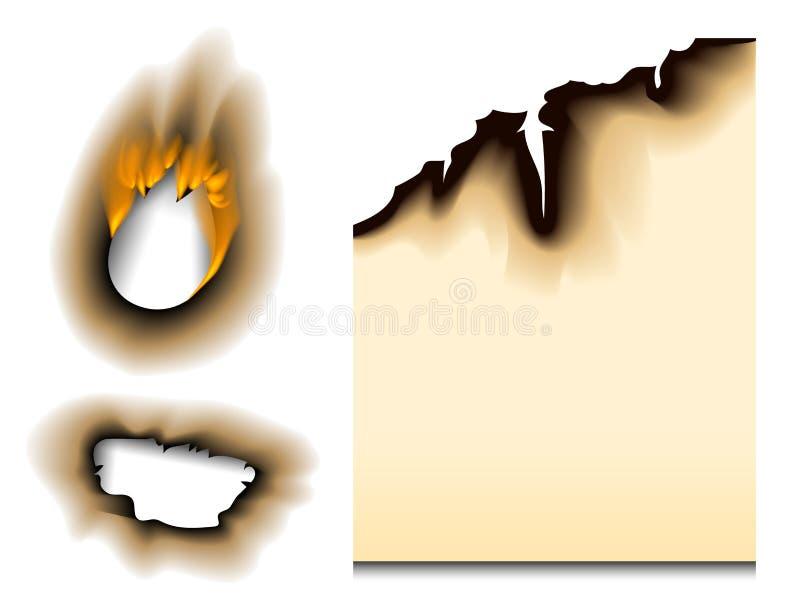 Het gebrande stuk brandde de langzaam verdwenen document van de de paginablad gescheurde as van de gaten realistische brand vlam  stock illustratie