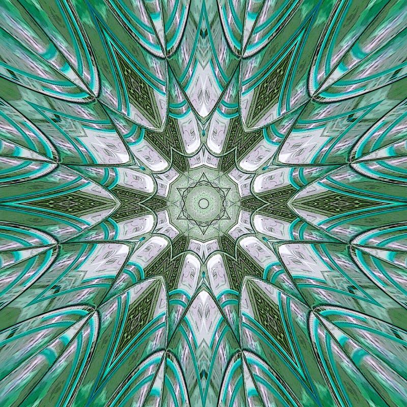 Het gebrandschilderde glas nam arabesque in wintertalingskleur toe royalty-vrije stock afbeelding