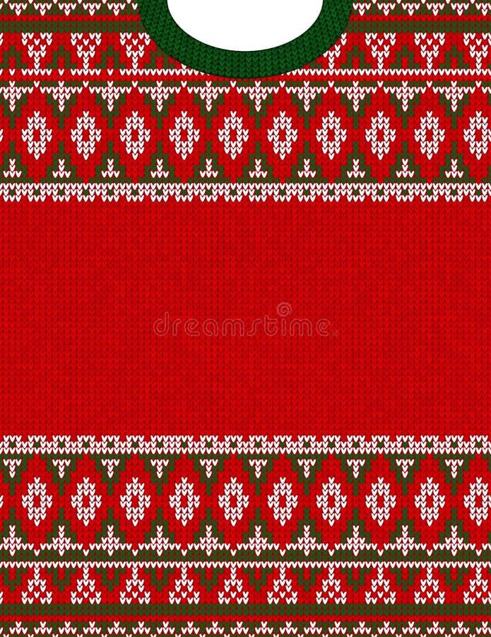 Het gebreide patroon van de het ornament lelijke sweater van Chrismas stammen Etnische Azteekse druk stock fotografie