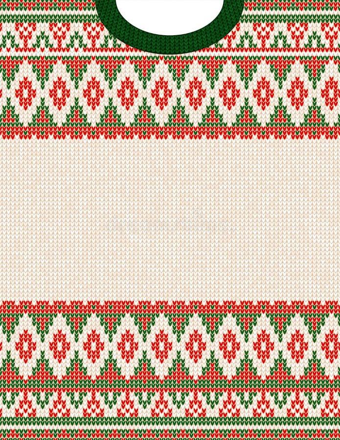 Het gebreide patroon van de het ornament lelijke sweater van Chrismas stammen Etnische Azteekse druk royalty-vrije illustratie