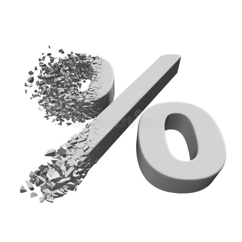 Het gebroken 3d teken van de Percentenkorting vector illustratie