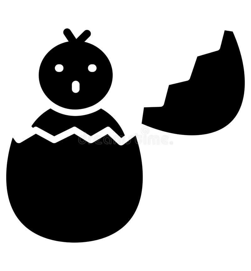 Het gebroken ei, kuiken isoleerde Vectorpictogram dat zich gemakkelijk kan wijzigen of uitgeven vector illustratie