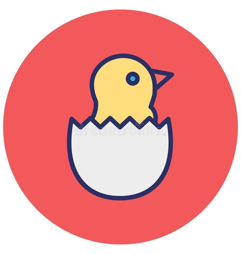 Het gebroken ei, kuiken isoleerde Vectorpictogram dat zich gemakkelijk kan wijzigen of uitgeven royalty-vrije illustratie