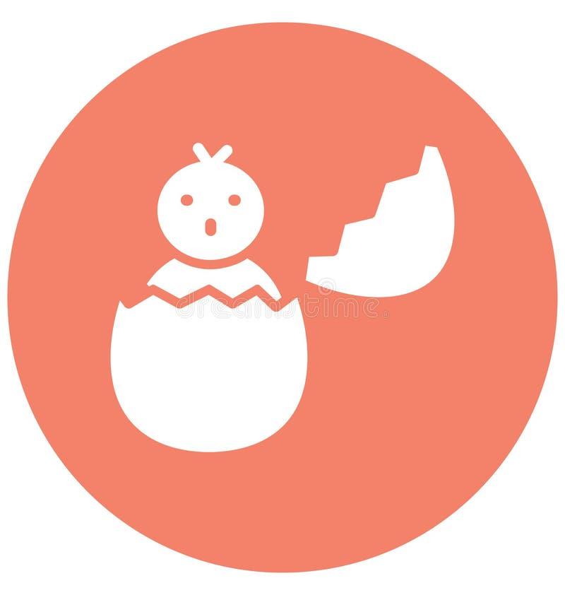 Het gebroken ei, kuiken isoleerde Vectorpictogram dat zich gemakkelijk kan wijzigen of uitgeven stock illustratie