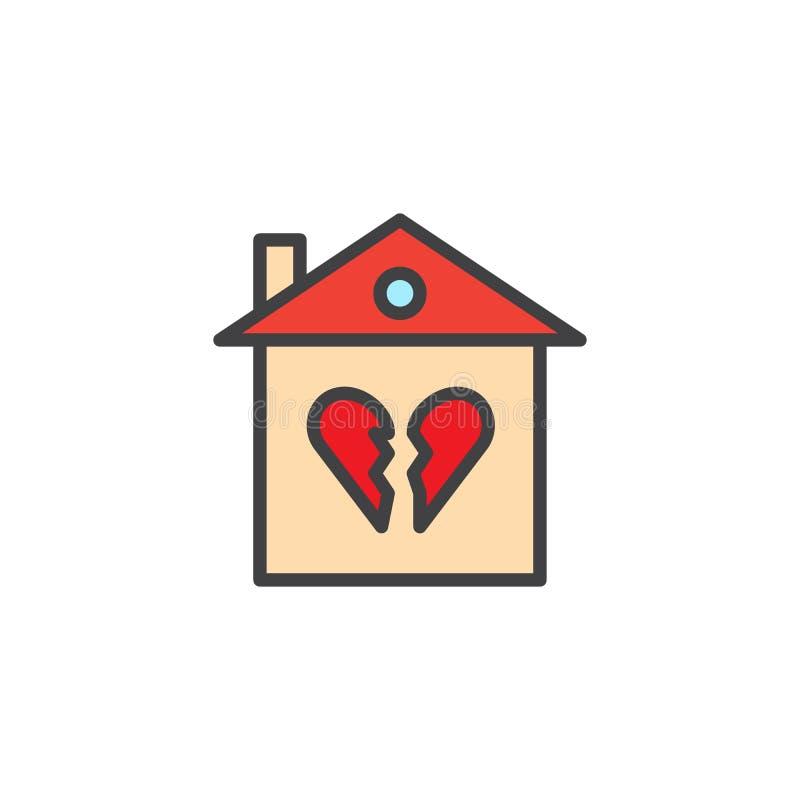 Het gebroken familiehuis vulde overzichtspictogram stock illustratie