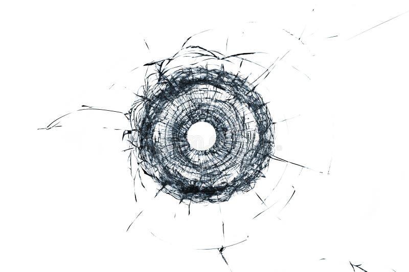 Het gebroken gat van de glas enige die kogel in glas op wit wordt geïsoleerd royalty-vrije stock afbeeldingen