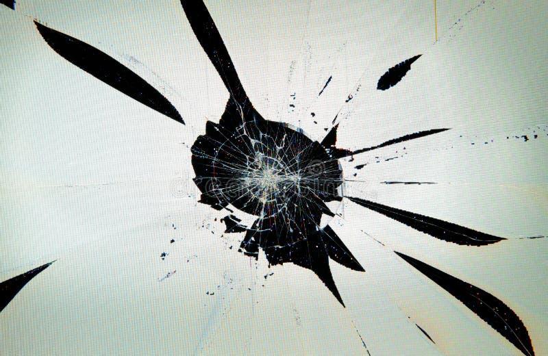 Het gebroken gebarsten computerscherm stock fotografie
