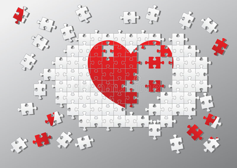 Het gebroken hart van de figuurzaag stukken vector illustratie