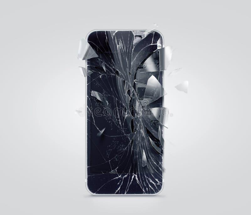 Het gebroken mobiele telefoonscherm, verspreide scherven Smartphone-verpletterd en gekraste vertoning stock fotografie