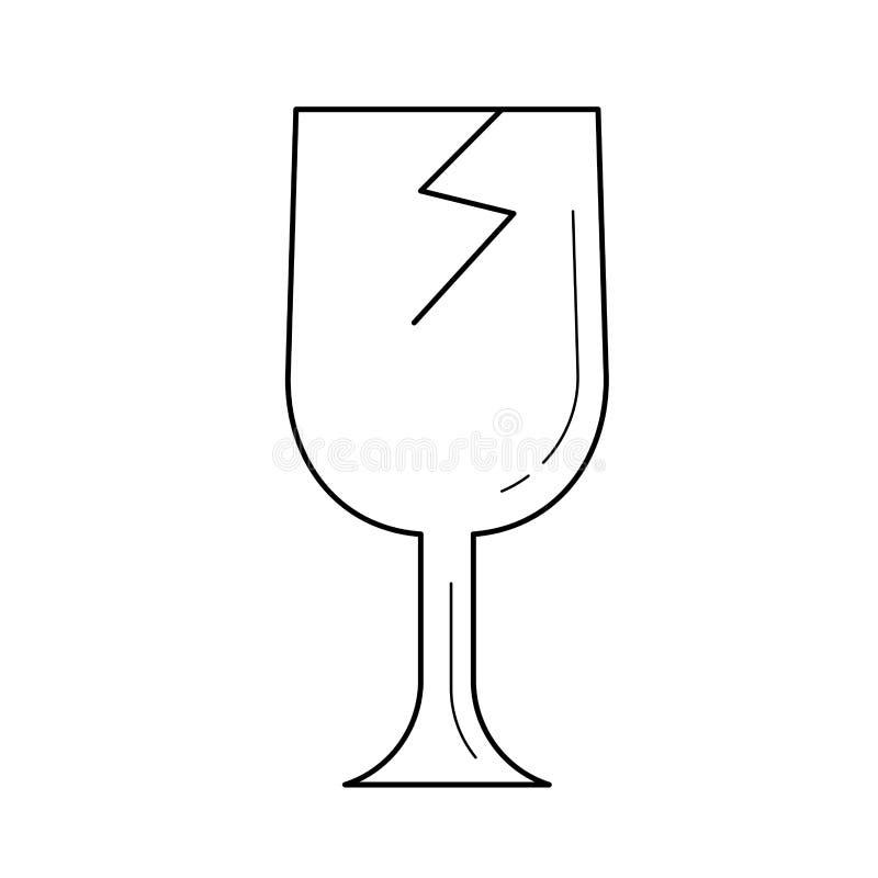 Het gebroken pictogram van de glaslijn vector illustratie