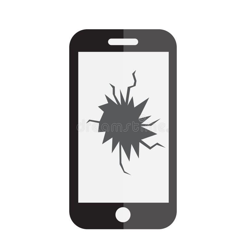 Het gebroken pictogram van het telefoonscherm Telefoon met een gebroken het schermpictogram Vlakke stijl Vector illustratie stock illustratie