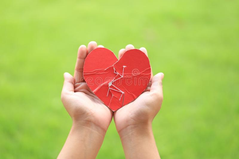 Het gebroken rode hart van de vrouwenhand holding met opnieuw genaaid stock afbeelding
