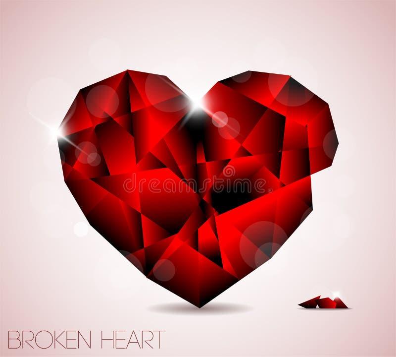 Het gebroken rode hart van het diamantjuweel vector illustratie