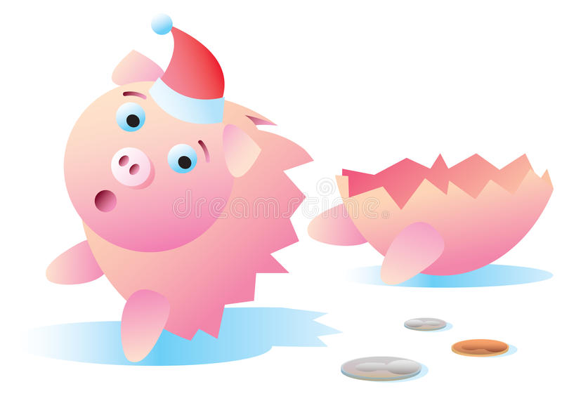 Het gebroken Spaarvarken van Kerstmis vector illustratie