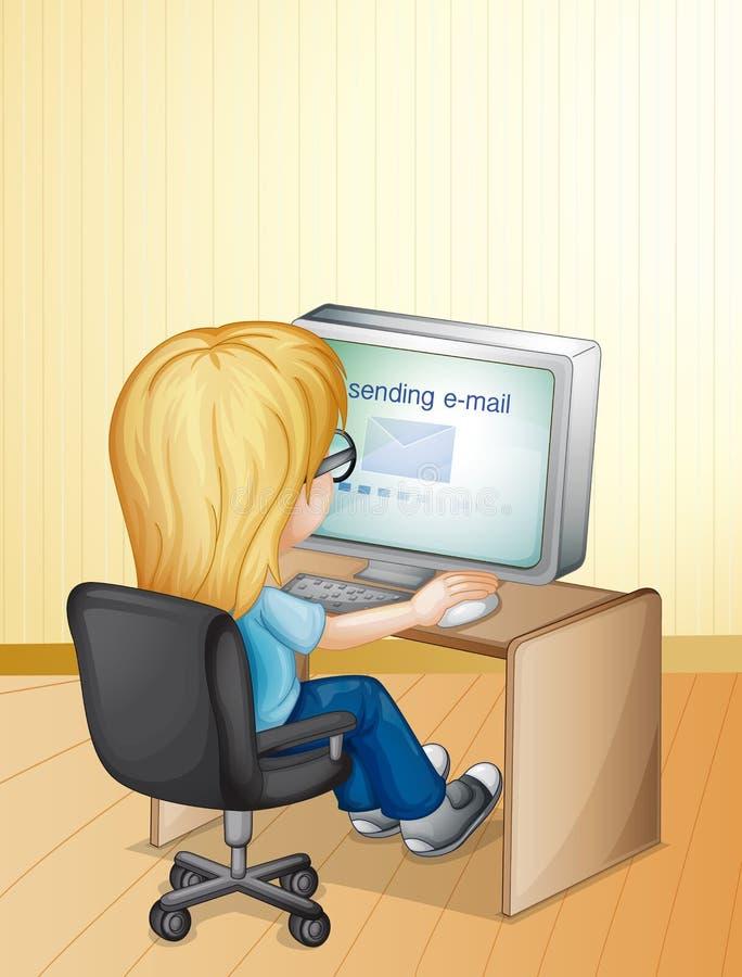 Het gebruiken van computer stock illustratie