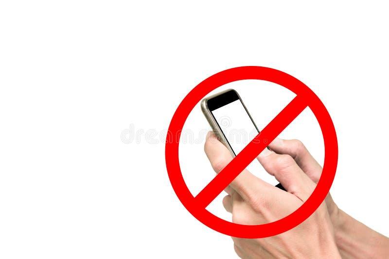 Het gebruiken van mobiele telefoon is belemmerd stock foto