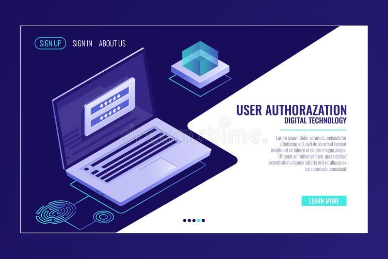 Het gebruikersteken omhoog of het teken in pagina, koppelt, laptop met vergunningsvorm op het scherm, Web-pagina de vector van de vector illustratie