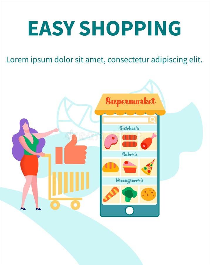 Het Gebruiksmobiele toepassing van de vrouwenklant voor online het Winkelen stock illustratie