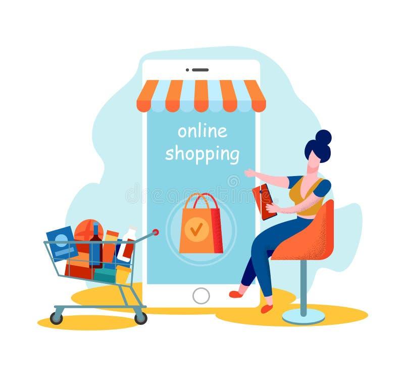 Het Gebruiksmobiele toepassing van de vrouwenklant voor online het Winkelen royalty-vrije illustratie