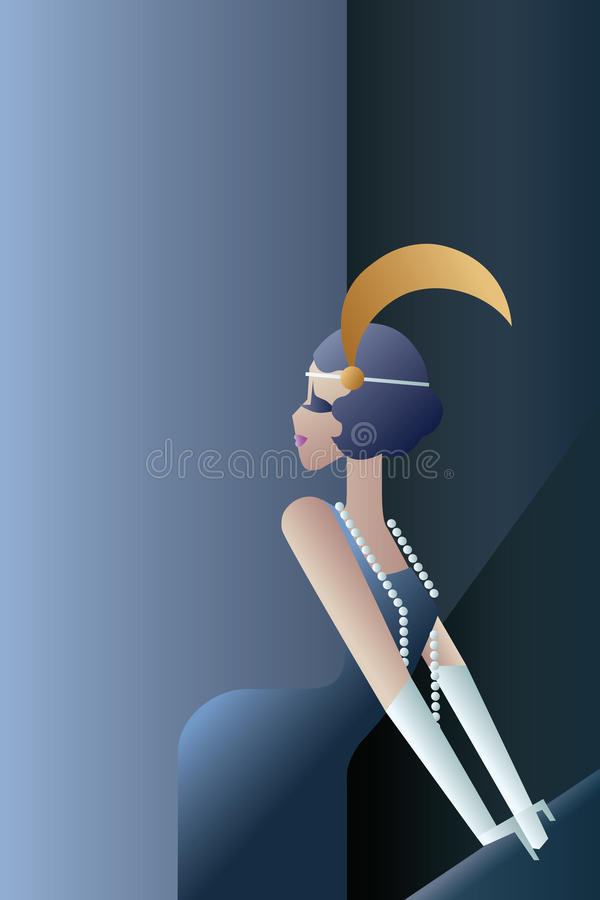 Het gebrul van jaren '20 elegante affiche met vinnen vector illustratie