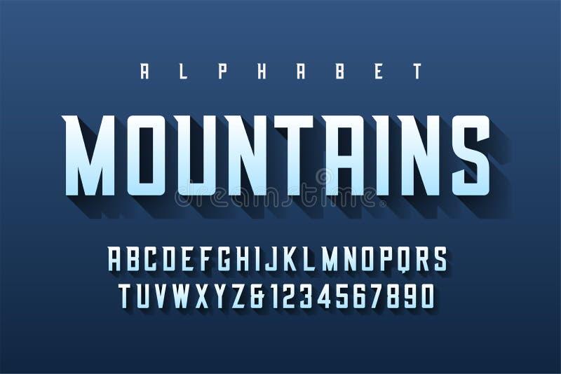 Het gecondenseerde retro ontwerp van de vertoningsdoopvont, alfabet, karakter - plaats, le royalty-vrije illustratie