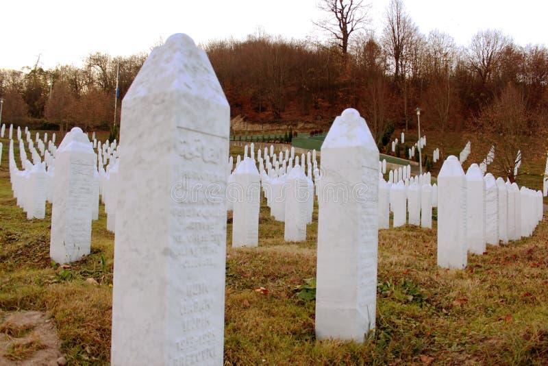 Het gedenkteken srebrenica-Potocari en de begraafplaats voor de slachtoffers van royalty-vrije stock afbeelding