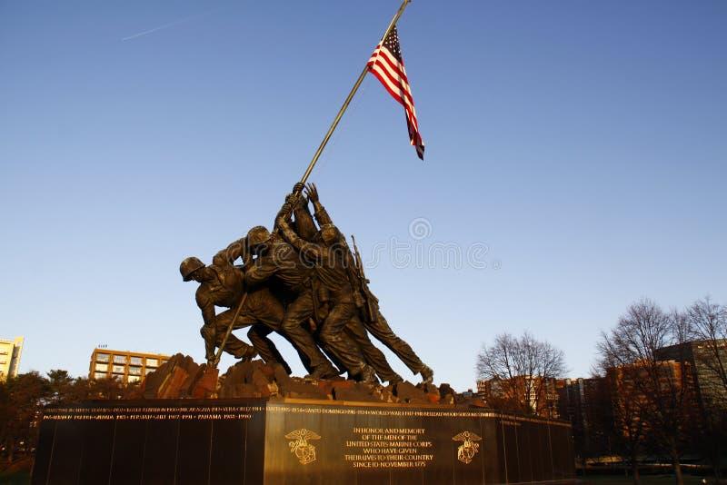 Het Gedenkteken van Jima van Iwo in Dawn in Arlington stock afbeeldingen