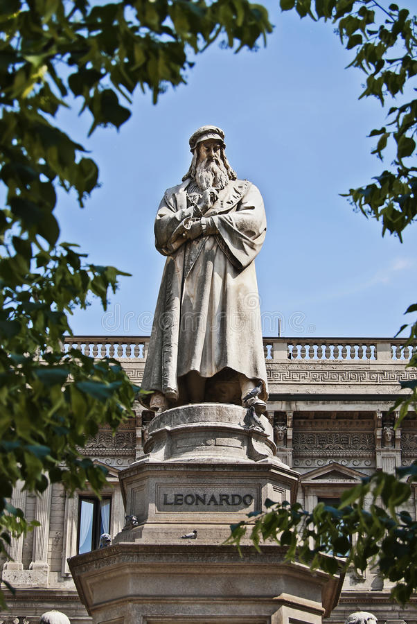 Het gedenkteken van Leonardo da Vinci stock afbeelding