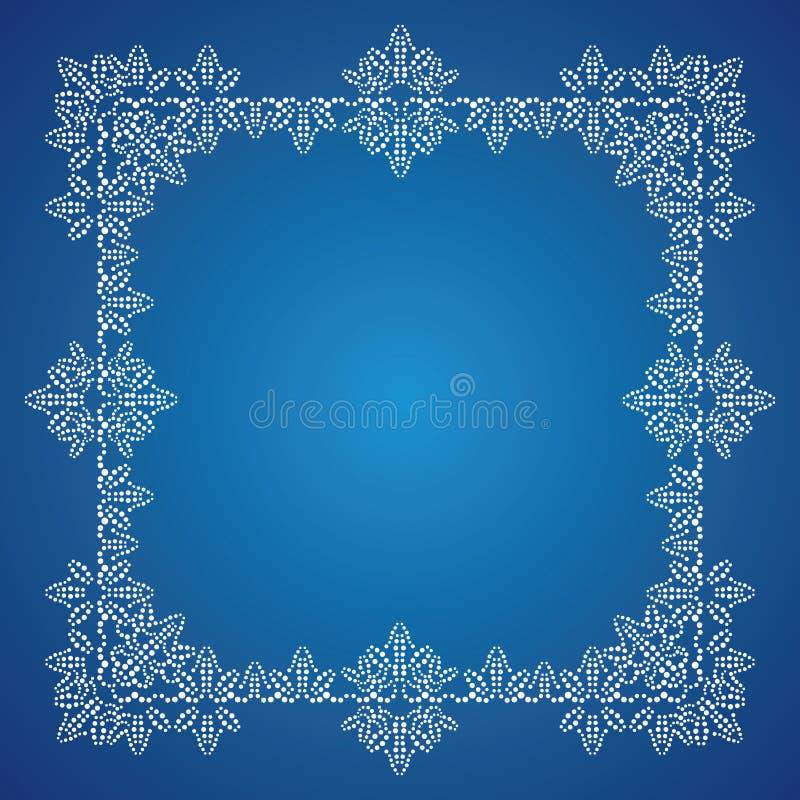 Het gedetailleerde ijzige frame van Kerstmis vector illustratie