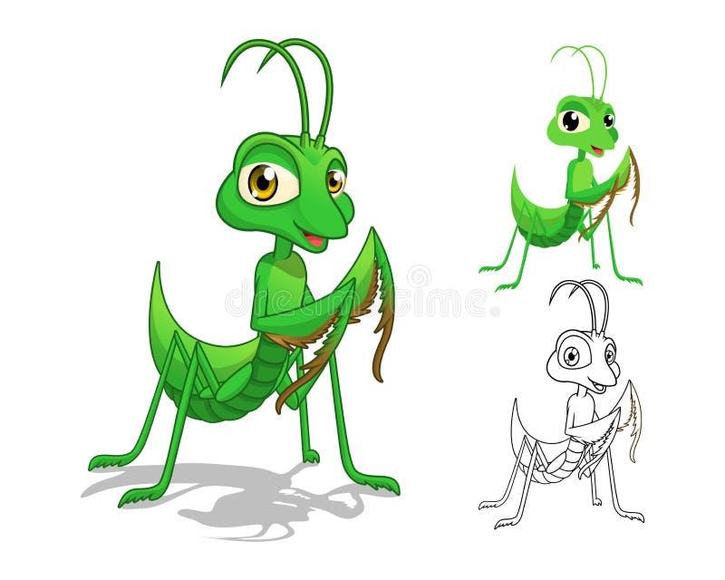 Het gedetailleerde Karakter van het Bidsprinkhanenbeeldverhaal met Vlakke Ontwerp en Lijn Art Black en Witte Versie stock illustratie