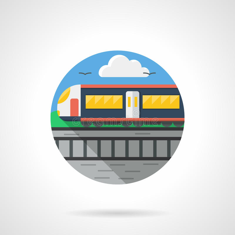 Het gedetailleerde pictogram van de passagierstrein kleur vector illustratie