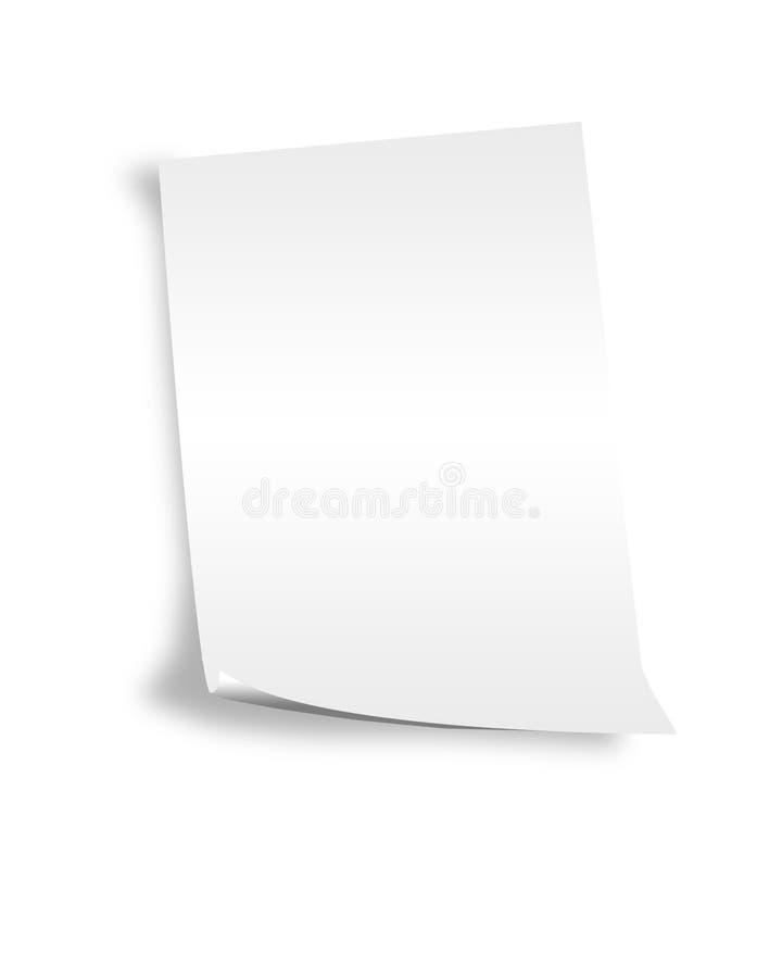 Het gedraaide blad van document stock fotografie