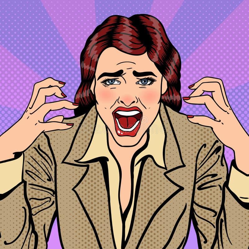 Het gefrustreerde Beklemtoonde Bedrijfsvrouw Gillen Pop-art vector illustratie